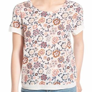 Hinge Embroidered Floral Print Top Blouse New Smal